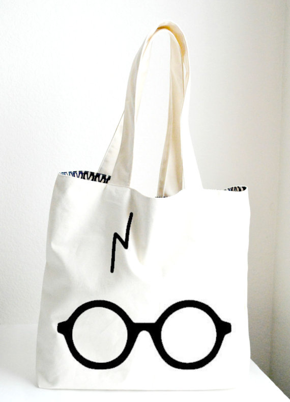 d042d8e9b Harry Potter Tote Bag Large, Glasses and Scar Tote , Sturdy, Heavyweight  Canvas Grocery Bag / Fan Ba