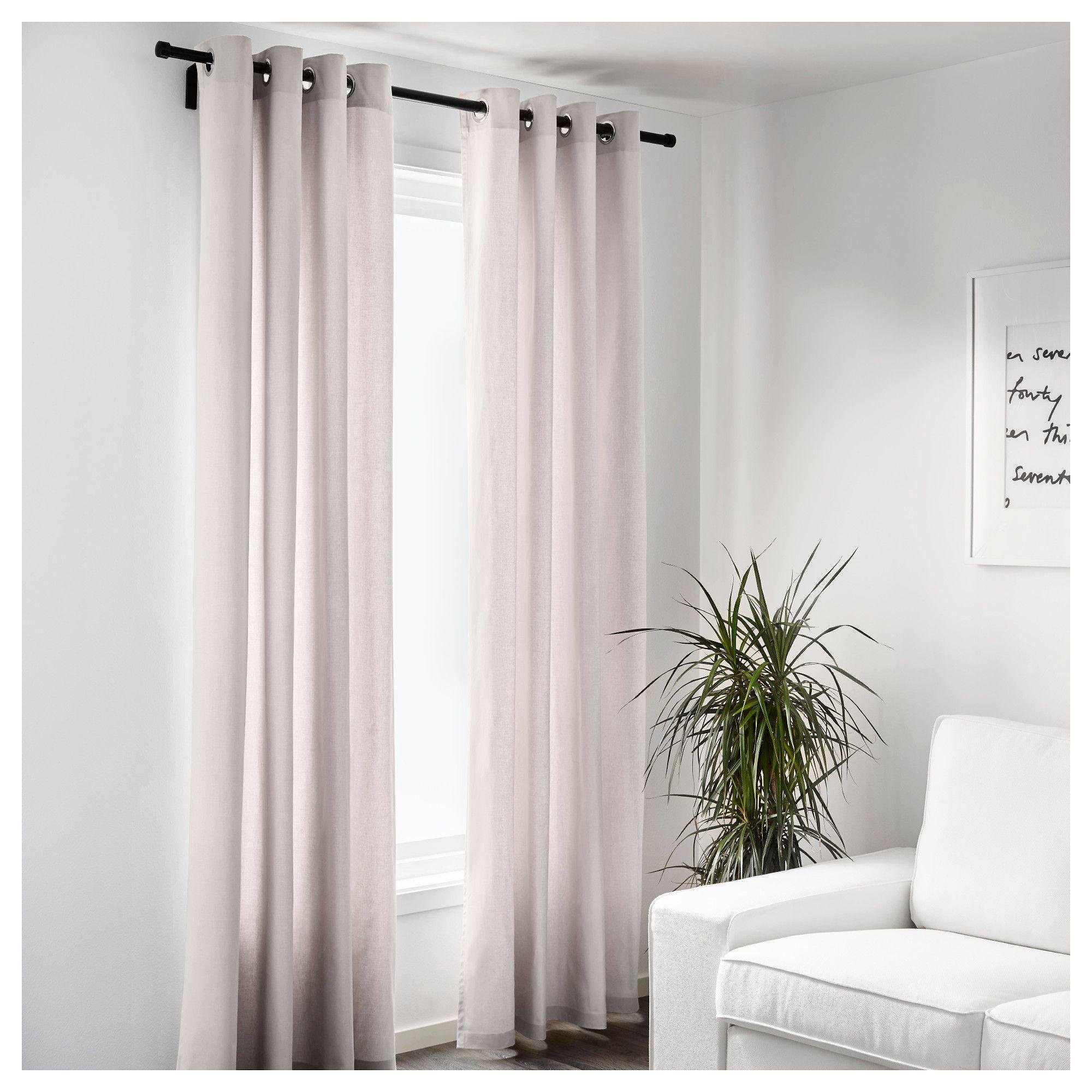 IKEA - MERETE Room darkening curtains, 1 pair beige | Curtains ...
