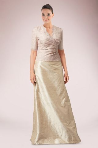 Classic Full Length Mother of Bride Dress Featuring Lace Covered Bodice