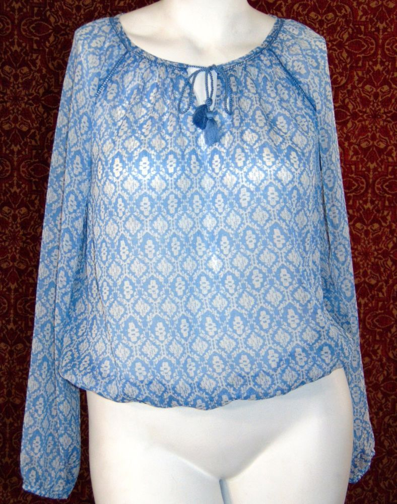 35bbca416775a6 LUCKY BRAND blue geometric long sleeve peasant blouse L (TF-03G7) # LuckyBrand #Blouse #Casual