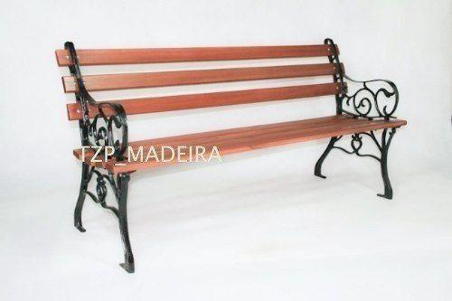 Banco De Jardim Em Madeira E Pe De Ferro Frances 140cm Com