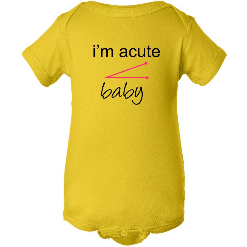4b56f6470ff Baby Onesie Funny Sayings I'M ACUTE BABY Yellow Baby Girl Creeper ...