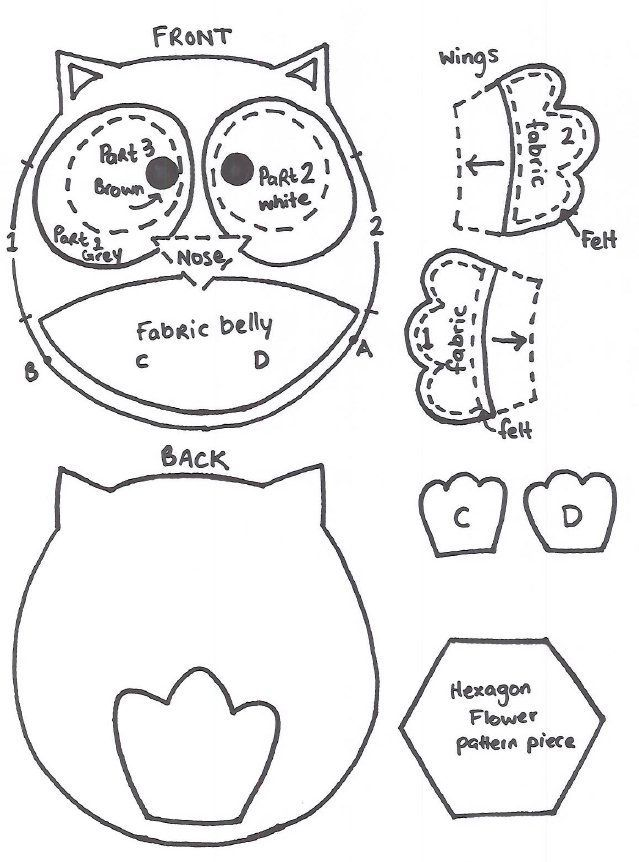 owl sewing pattern | Sewing Notions | Pinterest | Owl, Molde y Patrones