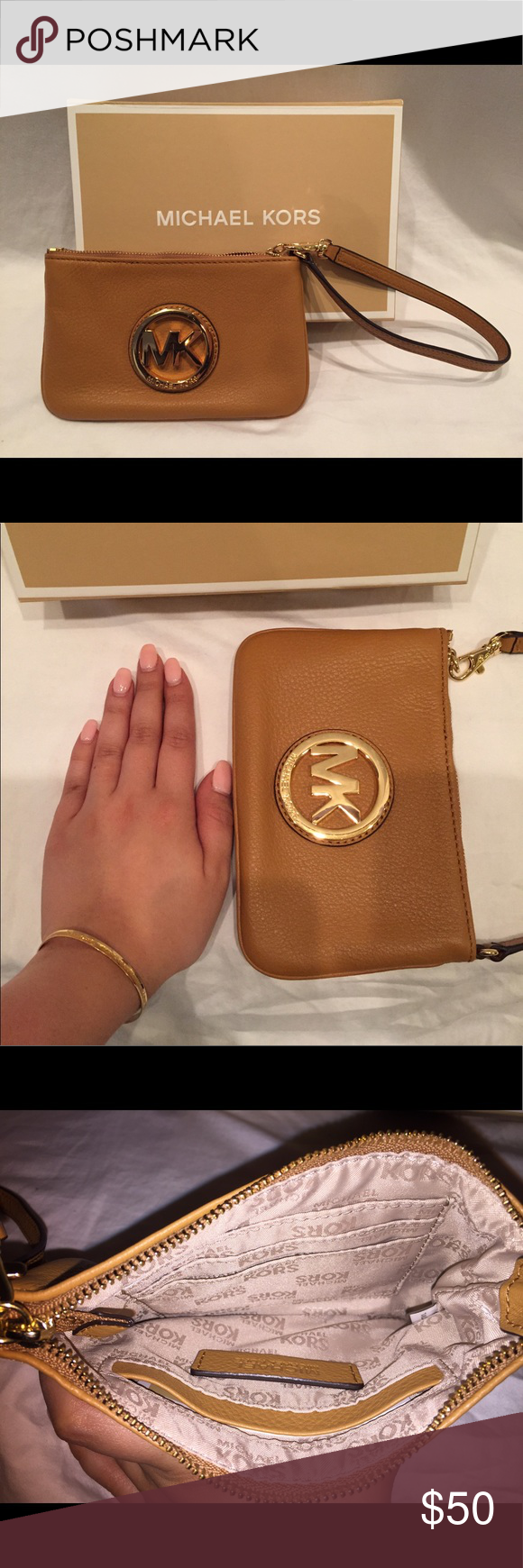 NWOT MICHAEL KORS WRISTLET NWOT MK wristlet in Luggage. Never been used, excellent condition! Box included. MICHAEL Michael Kors Bags Clutches & Wristlets