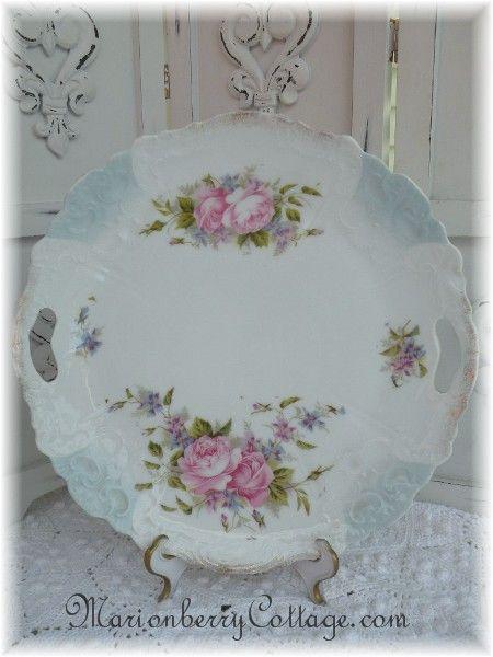 Vintage porcelain Germany Pink roses handled plate