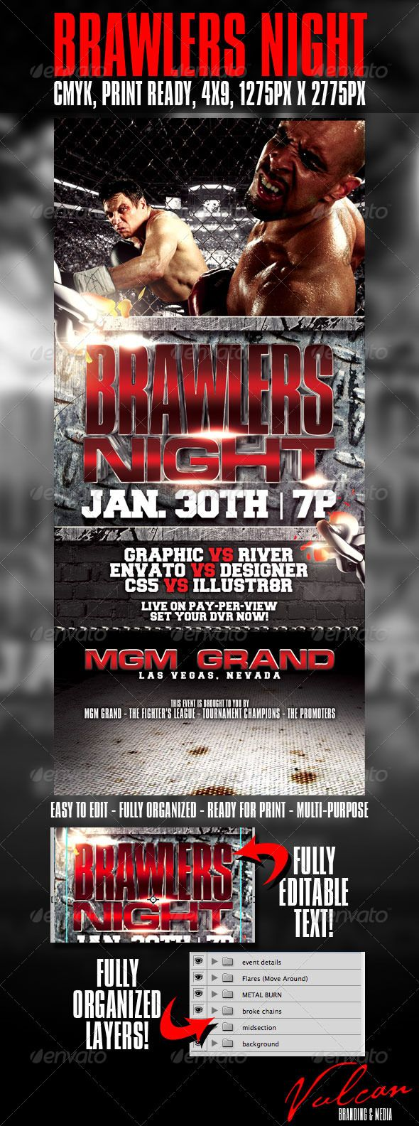 Brawlers Night Flyer Template  Flyer Template Template And D Text