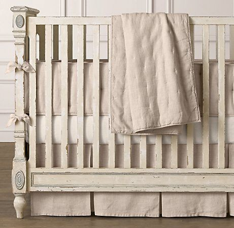 Washed Organic Linen Three Piece Crib Bedding Set Nursery Collections Baby Neutral Boy Sets
