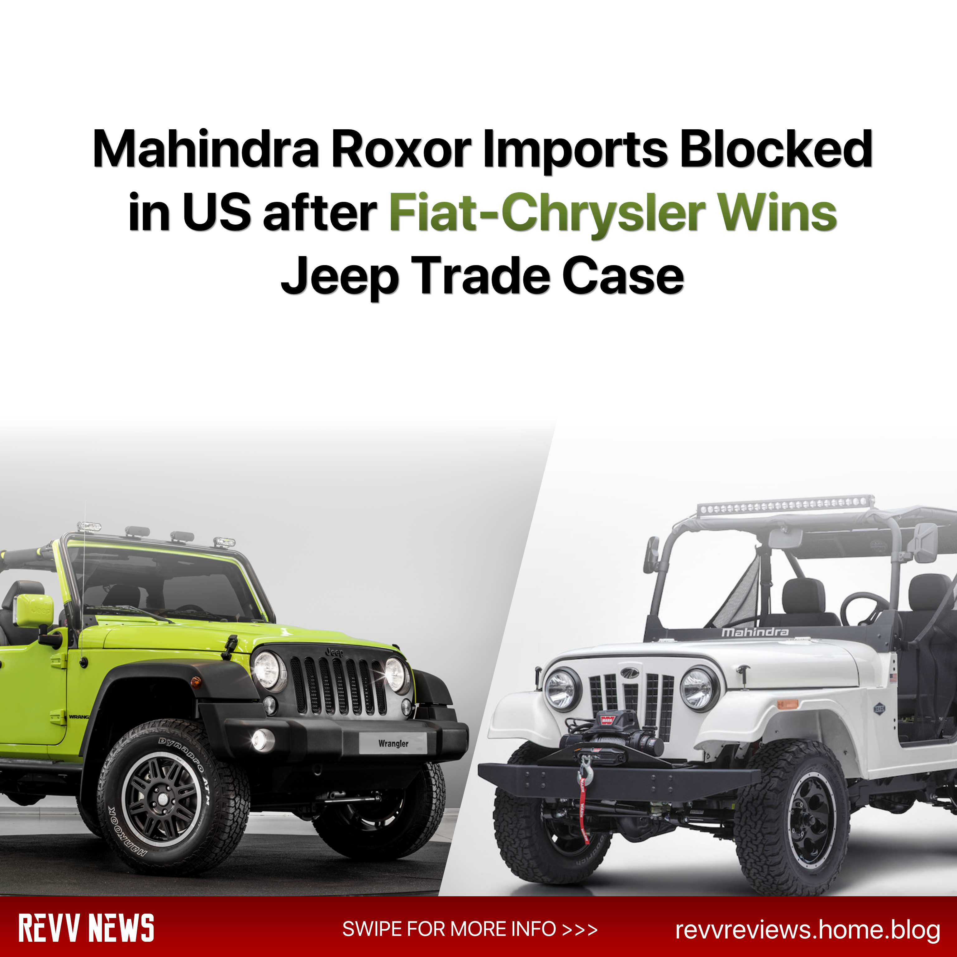 Mahindra Roxor Imports Blocked In Us After Fiat Chrysler Wins Jeep Trade Case Follow Us On Instagram Revv News For Daily Automo Fiat Mahindra Jeep Chrysler