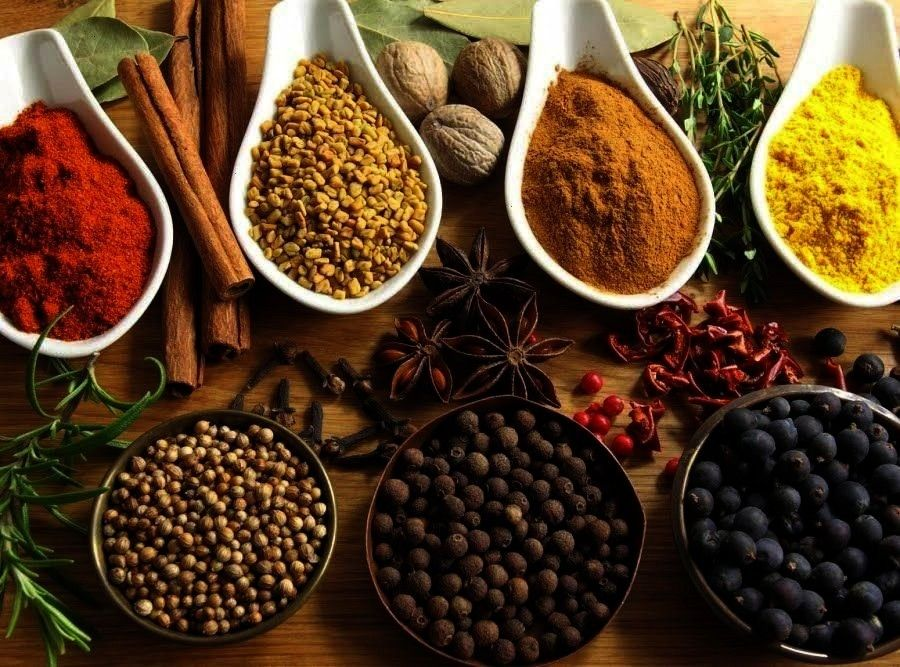 Spice spiceDIY English Mixed Spice spice Candy comes in handy with these 13 fancy plating hacks      LECKER Food Spices in bowls on a white table by Ina Peters for Stocks...