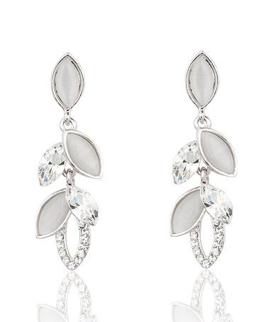Another great find on #zulily! Cubic Zirconia & Silvertone Flower Drop Earrings #zulilyfinds