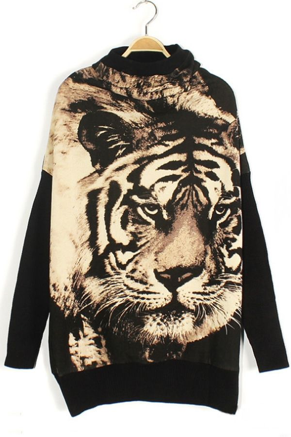 Tiger Graphic Sweatshirt - OASAP.com ALL PERFECT