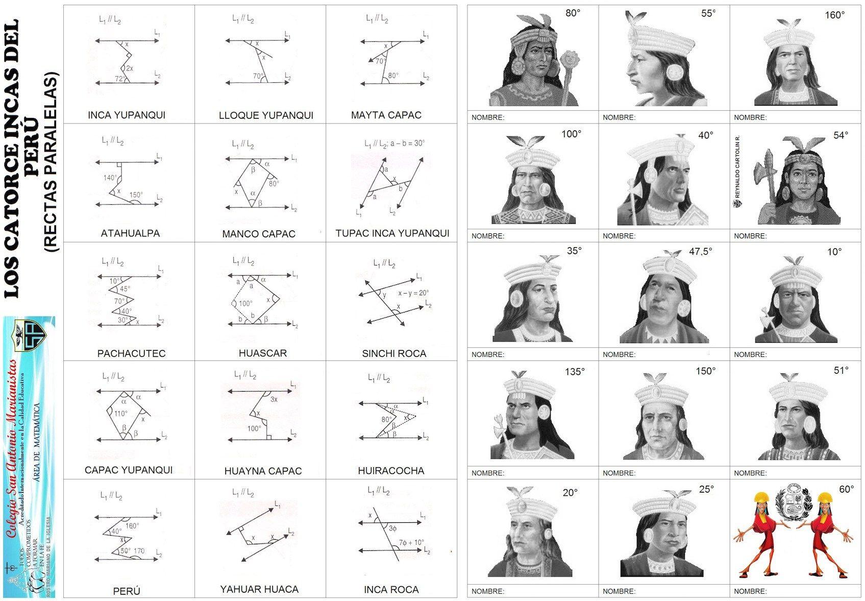 Los Catorce Incas Rectas Paralelas Calculo De Angulos