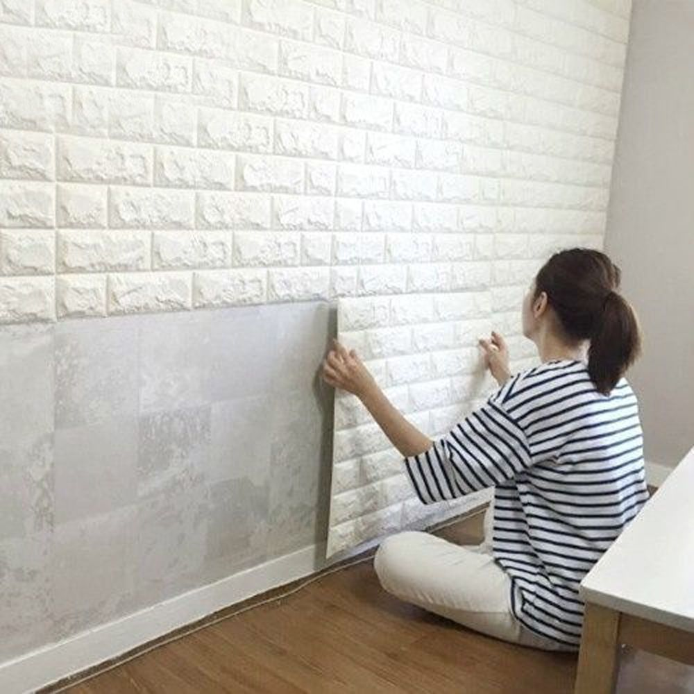 white 3d embossed brick stone wall sticker waterproof foam