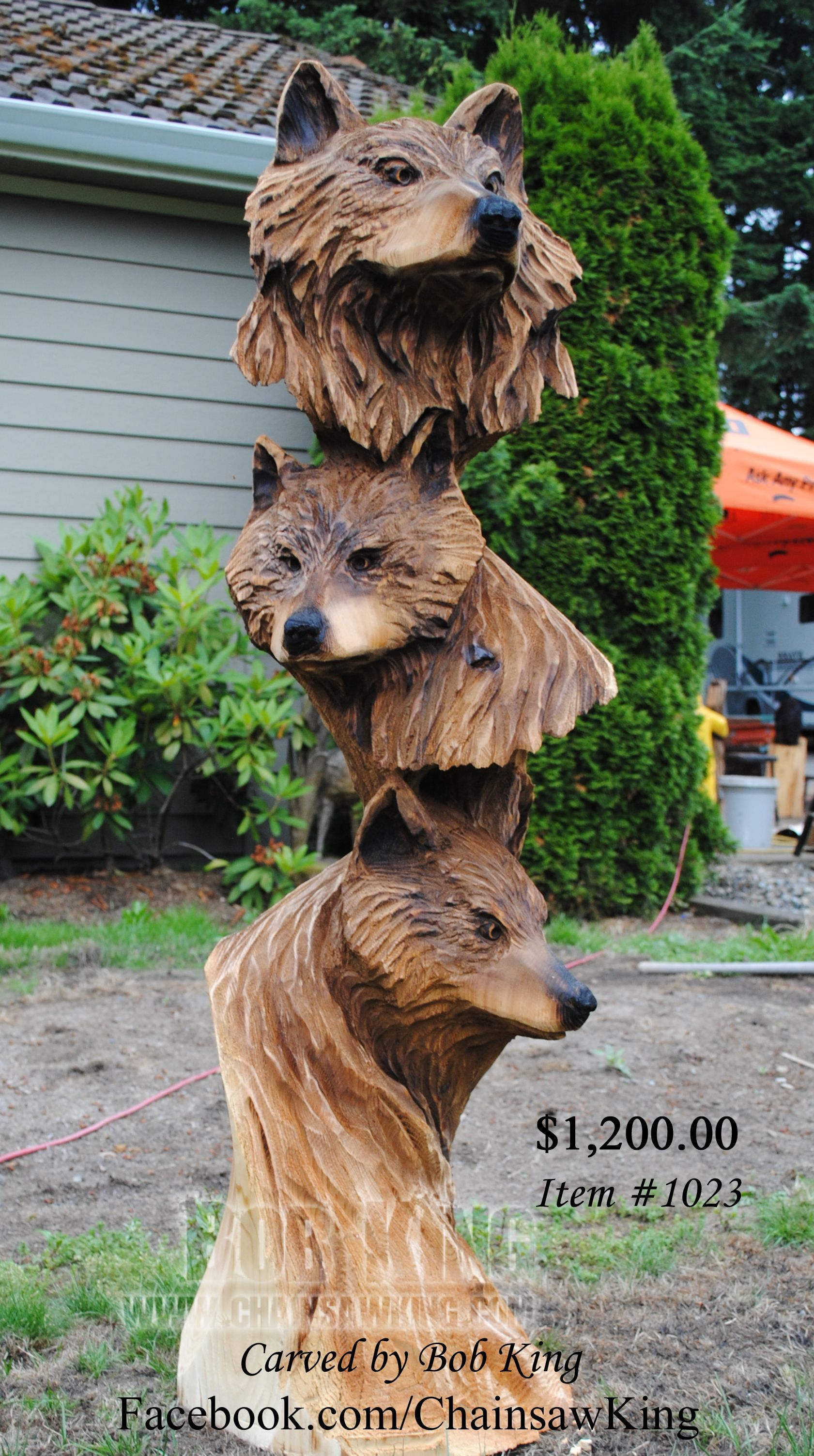 Wolf bust chainsaw carving by bob king this sculpture is