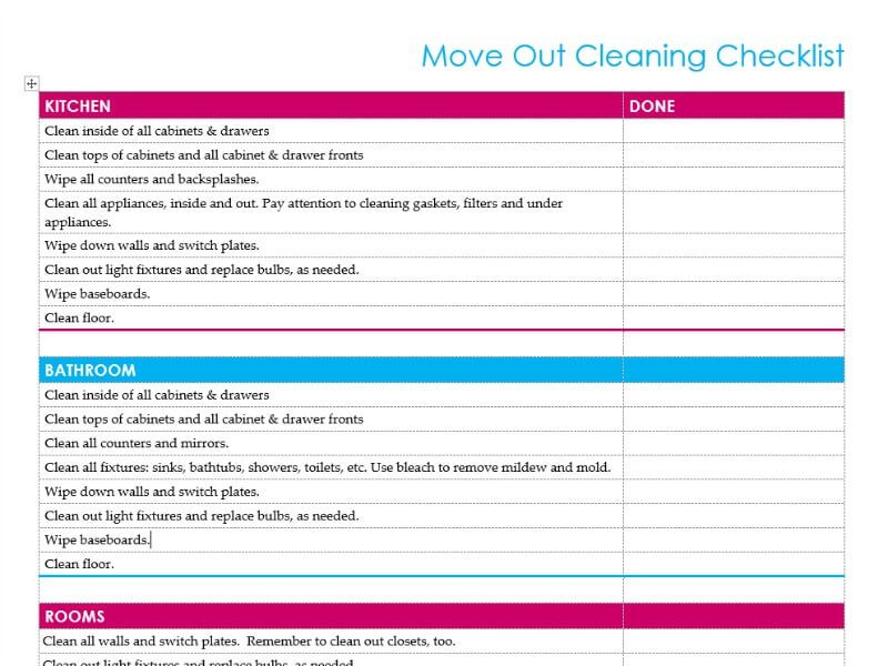 Al Move Out Checklist For Cleaning