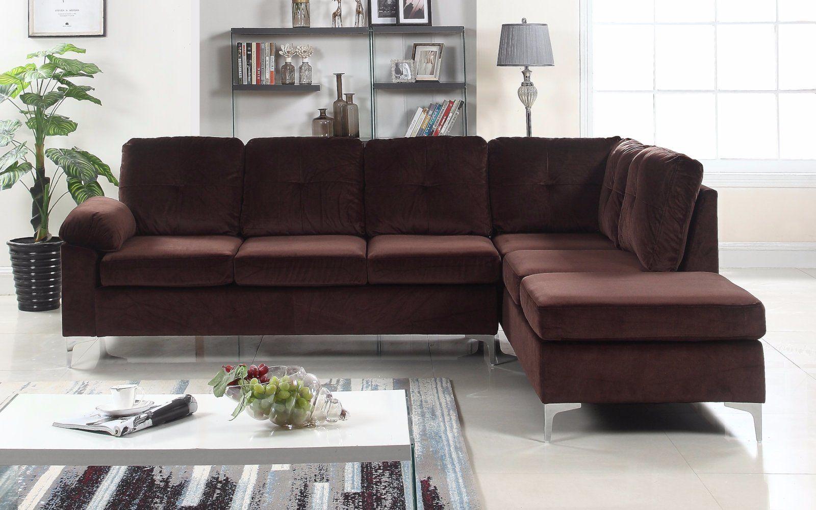 Helsinki modern tufted brush microfiber sectional sofa
