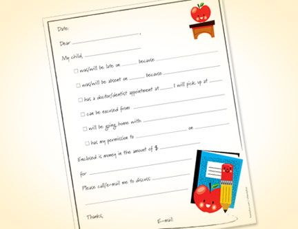 Free printable  - absence note