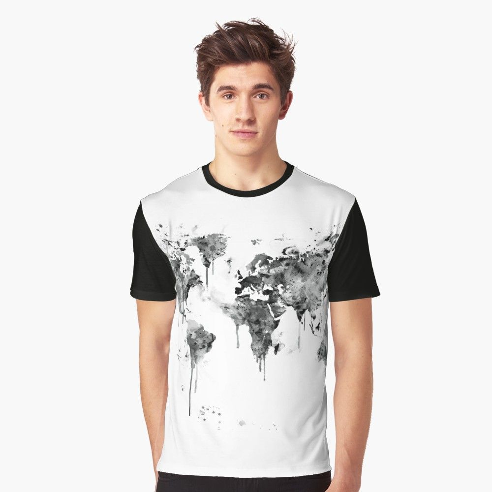 World map graphic t shirt earth globe map and watercolor world map graphic t shirt by monnprint gumiabroncs Images