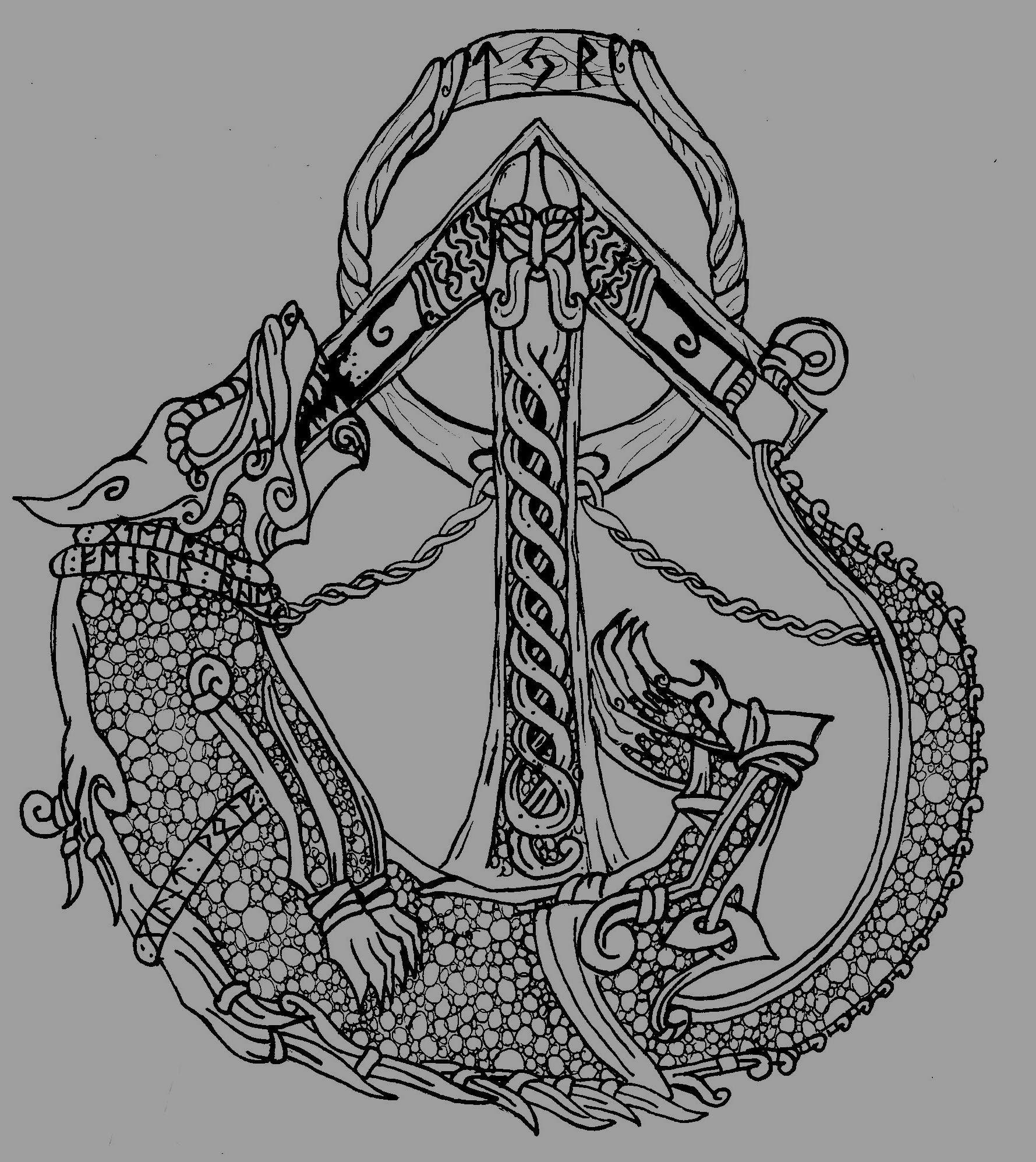 Tyr and Fenrir Norse tattoo, Viking tattoos, Nordic tattoo