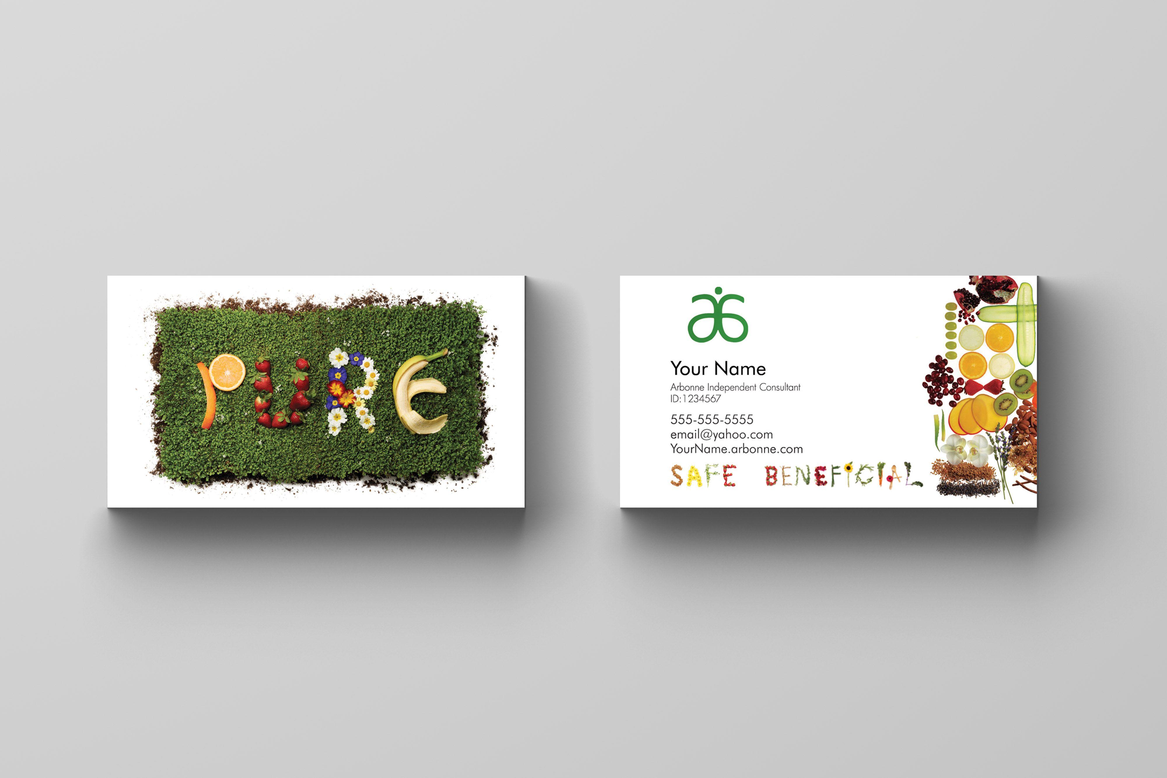 Arbonne Business Card - Pure | Arbonne | Pinterest | Arbonne ...