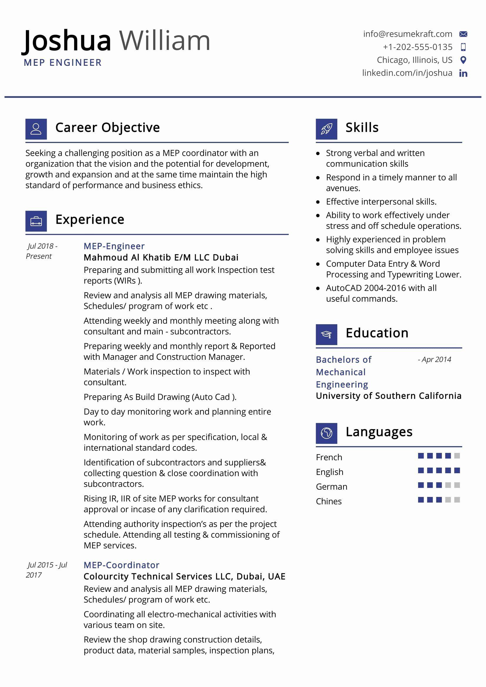 Electrical Engineer Resume Sample Best Of Mep Engineer Resume Sample Resumekraft In 2020 Engineering Resume Engineering Professional Resume Samples