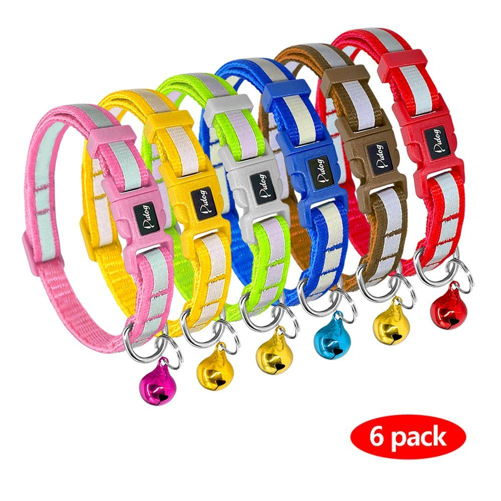 Didog 6 PCS Reflective Puppy Collars with Colorful Bells