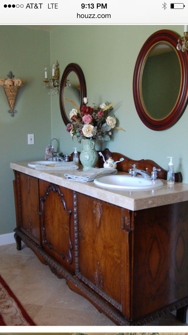 Antique Furniture as a bathroom vanity antique projects