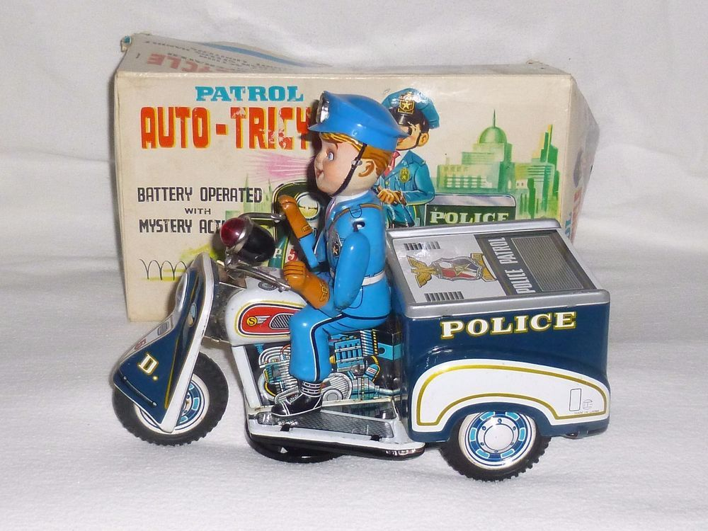 Vintage Nomura Tinplate Battery Operated Police Patrol Auto Cycle