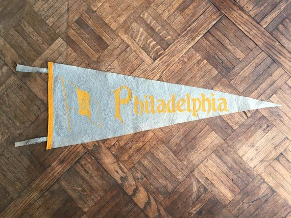 RESERVED - Vintage Philadelphia Pennant, Blue and Yellow ...