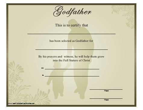 A Religious Godfather Certificate Showing A Man And Child Walking