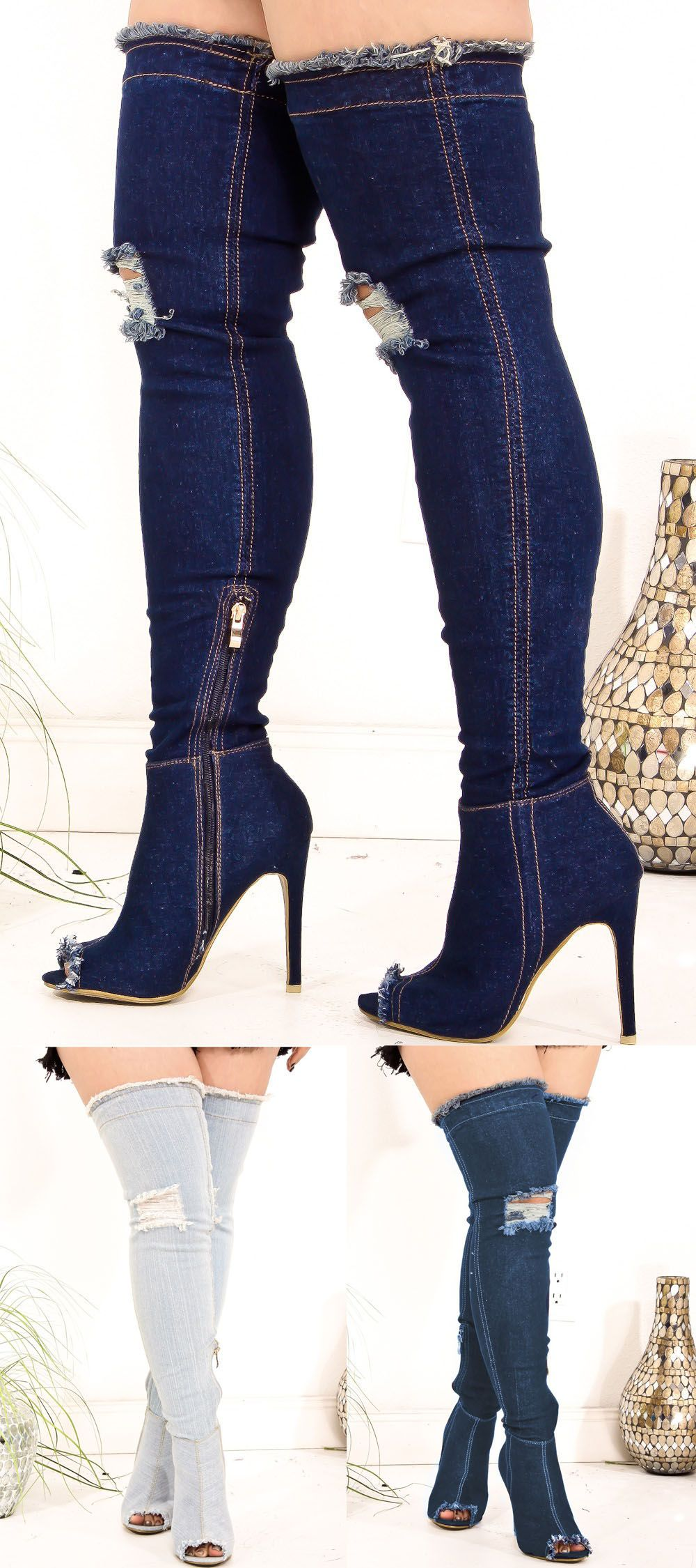 Thigh A High Design Side Look Boots Denim Peep Toe Feature These UdIwAxqHI