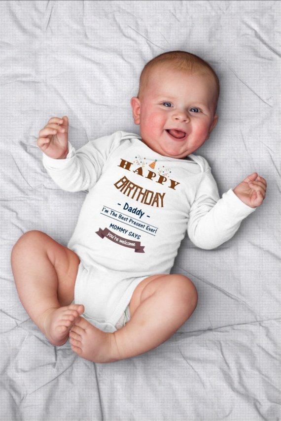 Happy Birthday Daddy OnesieC Unisex Baby Clothes One Piece Gift New Dad Boy