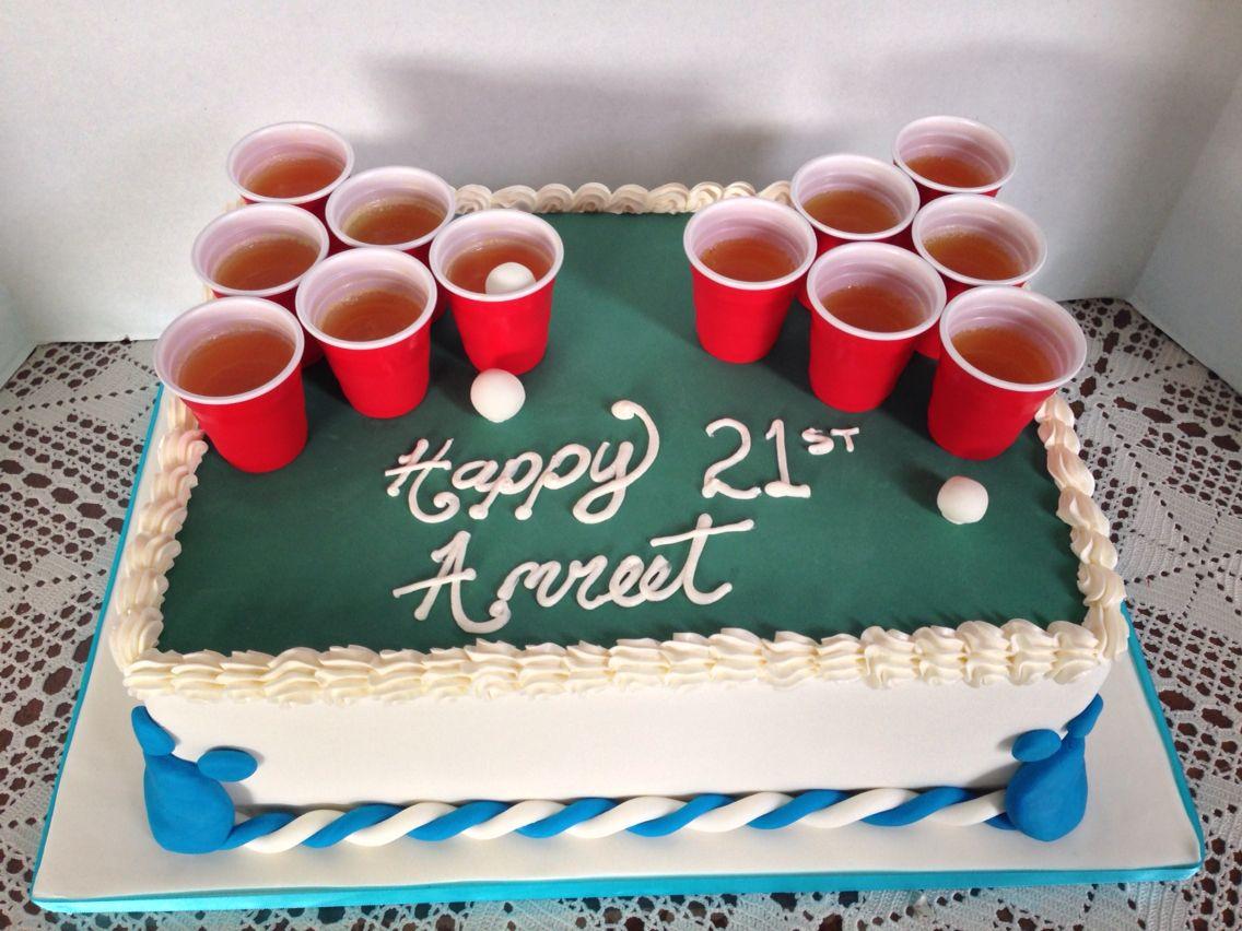 Beer pong cake! 21st birthday cake idea!  Baking ideas