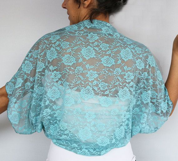 Misty turquoise lace shrug, bolero, evening dress coverup. Its made with stretchy lace fabric in dusty teal color. One size (L to XL).  Produced in pet and smoke-free medium. Ready to ship!  Back to store MammaMiaEMe: http://www.etsy.com/shop/mammamiaeme  Thanks for looking MammaMiaEMe