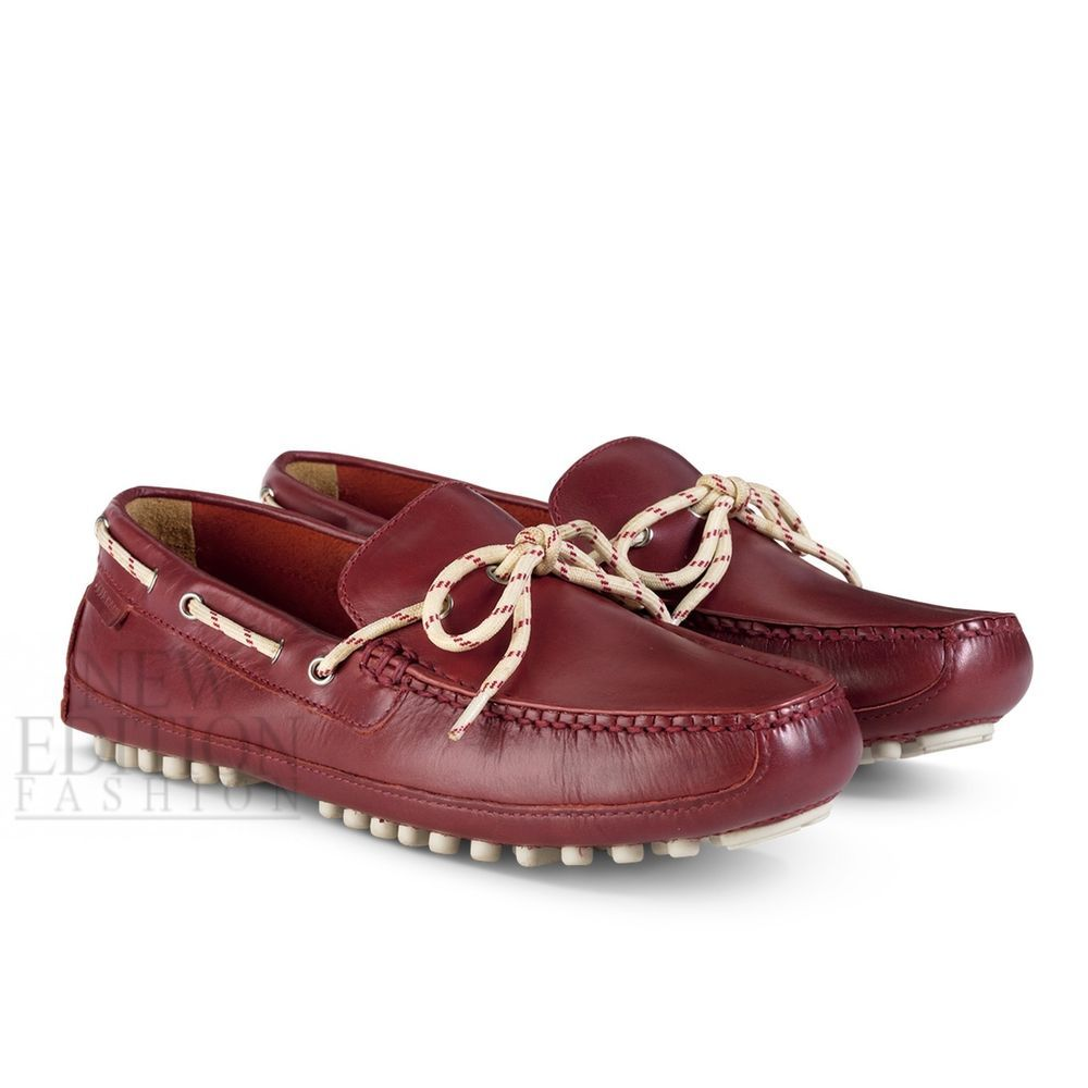 c6c47e75b52 Cole Haan Grant Canoe Camp Moc Men s Leather Loafers Moccasins C12120 Tango  Red