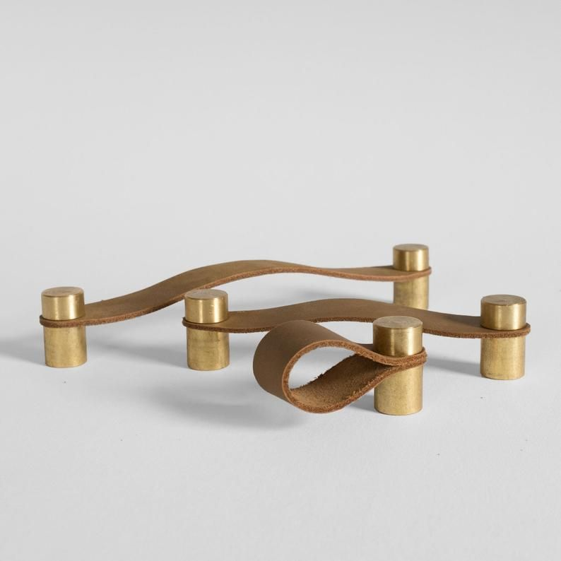 Leather Pull The Cassidy Loop Pull Tan Leather Raw Brass
