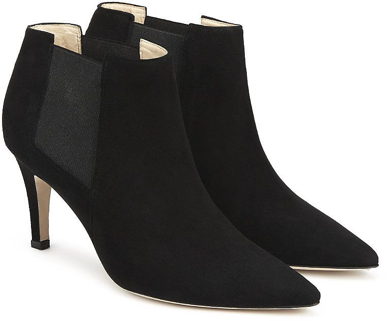 Womens black suede heeled ankle boots from The White Company - £179 at ClothingByColour.com