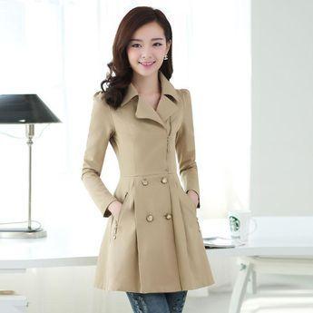 Abrigo Chaqueta Coreano De Q219 Mujer Largo Para Entallado Cazadora n4U68xCqw