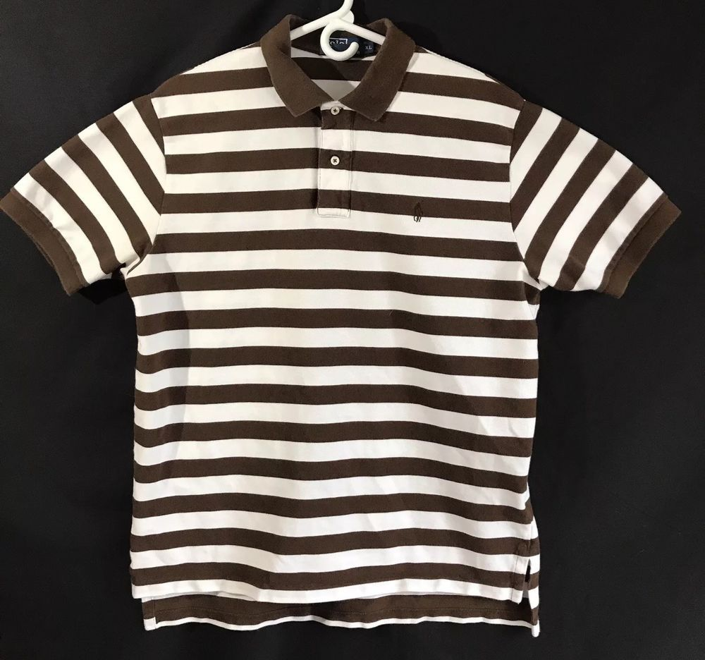 c21025be963 Polo Ralph Lauren Brown And White Stripped Shirt Men's Size XL | eBay