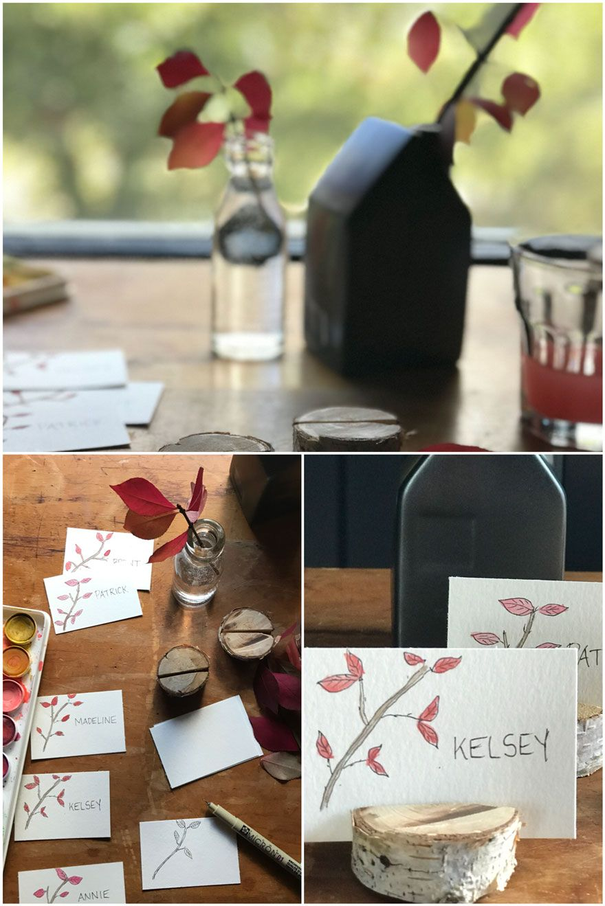 Diy Thanksgiving Place Cards Inspired By Nature Thanksgiving