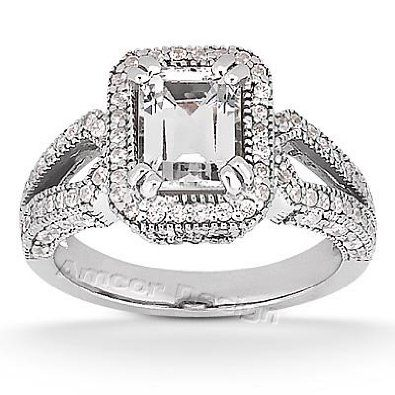 14K White Gold Engagement Ring 145CT Emerald Cut Diamond RingHI
