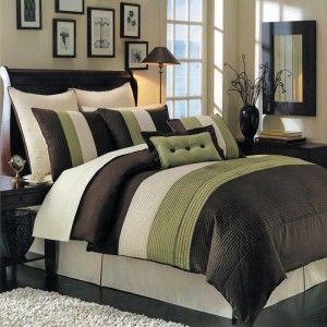 8pc Modern Brown Sage/Green Comforter Set W. Euro Shams