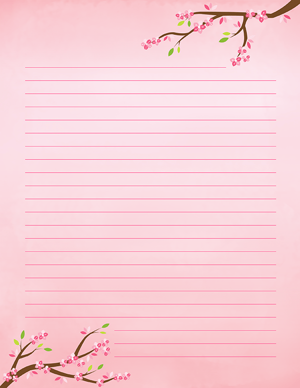 photograph relating to Printable Stationeries titled Printable Cherry Blossom Stationery Crafting/PAPER