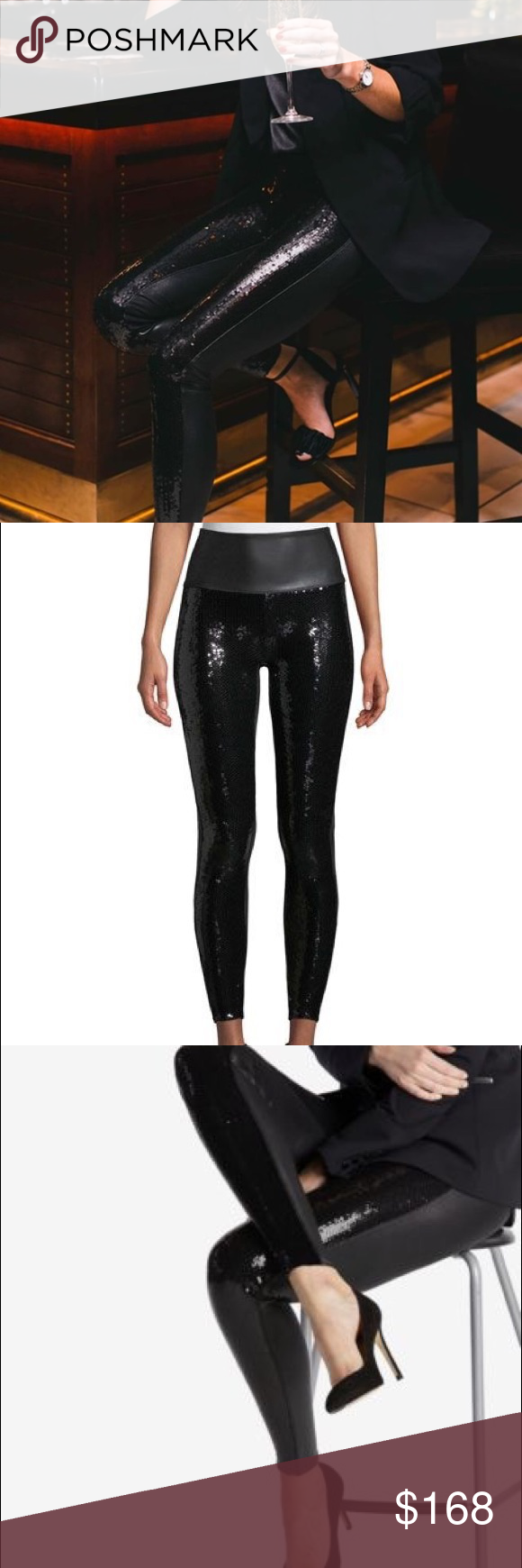 72d073550a58c Spanx Faux leather Sequin Leggings NWT ✨ These leggings are so gorgeous.  Perfect with any top or Blazer or any upcoming Special Event❣ Think Vegas  or ...