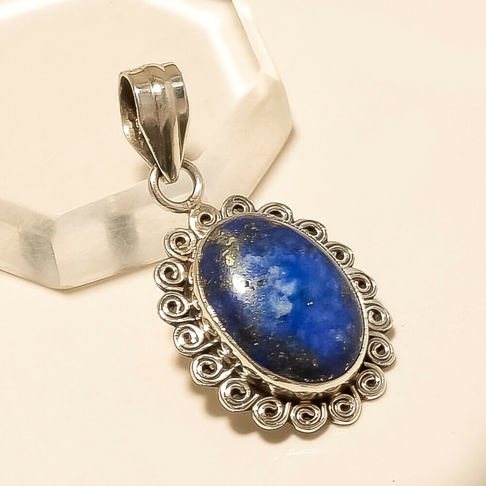 Vintage Artisan Crafted Sterling /& Lapis Pendant Necklace