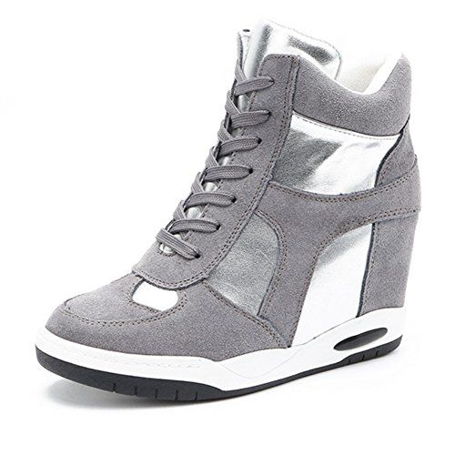 fc21b2af26e3a UMAC High Top Wedge Sneakers for Womens Antislip Rubber Sole Hidden ...
