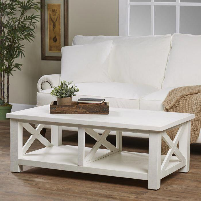 Ruffner Solid Wood Coffee Table with Storage | Coffee table with stools, Solid wood coffee table ...