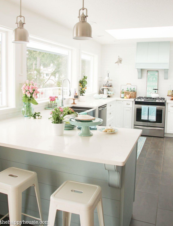 Coastal cottage style spring kitchen tour the happy housie dream