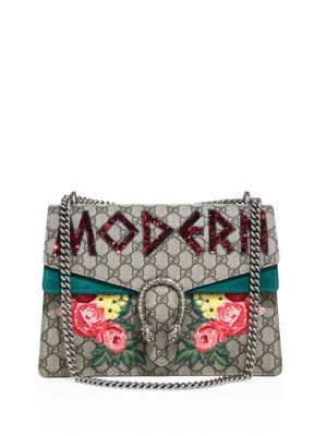 fb443ed79cfb92 GUCCI Dionysus Modern-Embroidered Gg Supreme Chain Shoulder Bag. #gucci # bags #shoulder bags #lining #canvas #suede #