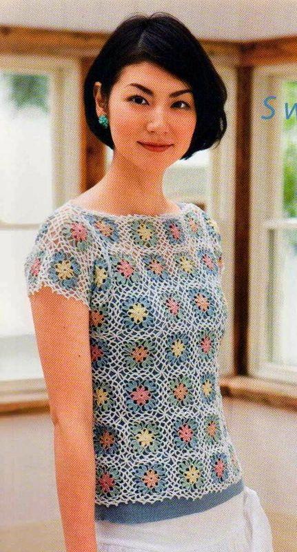 crochet mini granny pour un pull